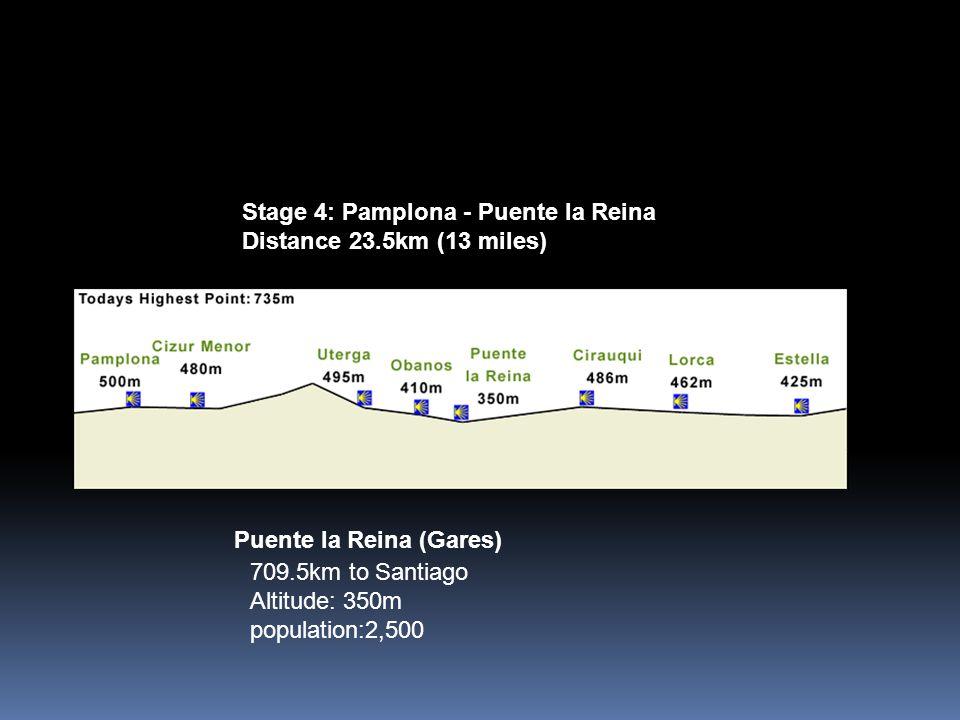 Puente la Reina (Gares) 709.5km to Santiago Altitude: 350m population:2,500 Stage 4: Pamplona - Puente la Reina Distance 23.5km (13 miles)