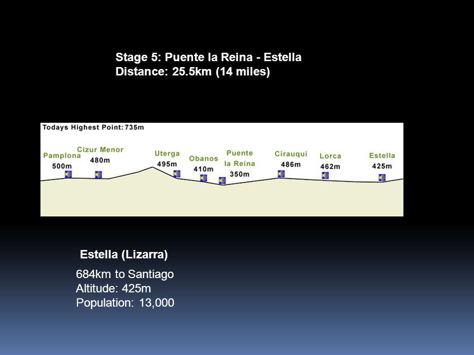 Stage 5: Puente la Reina - Estella Distance: 25.5km (14 miles) 684km to Santiago Altitude: 425m Population: 13,000 Estella (Lizarra)