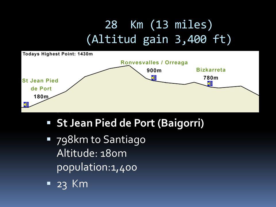 28 Km (13 miles) (Altitud gain 3,400 ft)  St Jean Pied de Port (Baigorri)  798km to Santiago Altitude: 180m population:1,400  St Jean Pied de Port