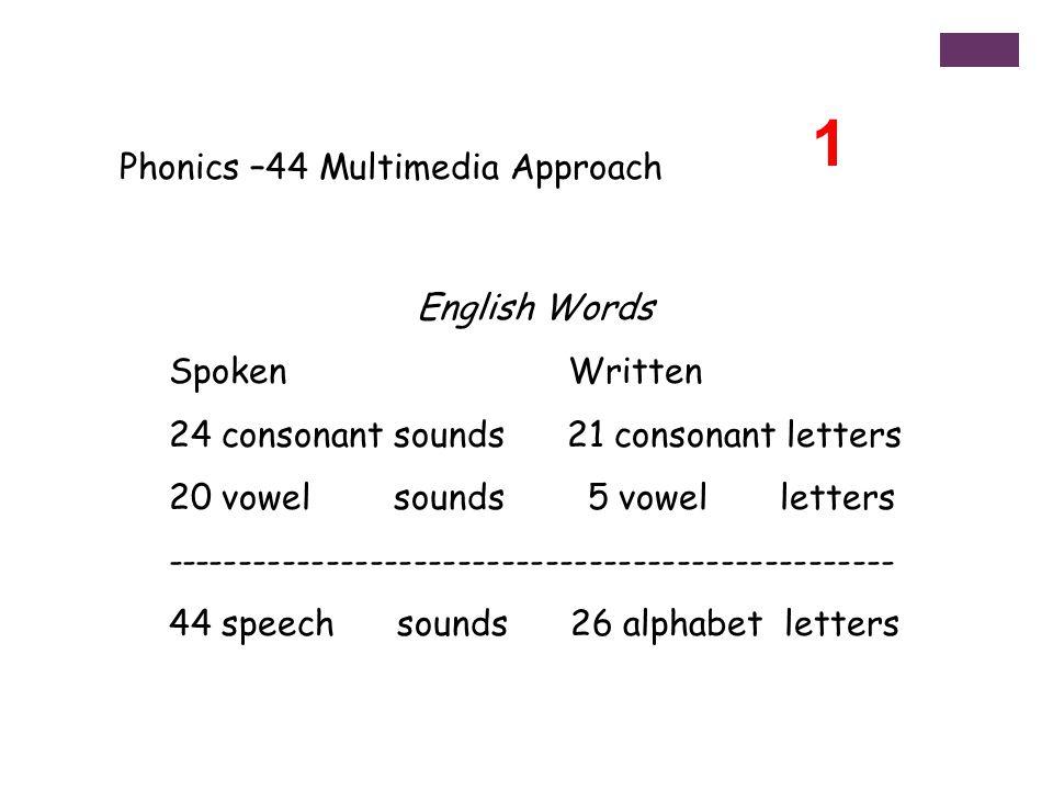 Phonics –44 Multimedia Approach English Words Spoken Written 24 consonant sounds 21 consonant letters 20 vowel sounds 5 vowel letters -------------------------------------------------- 44 speech sounds 26 alphabet letters 1