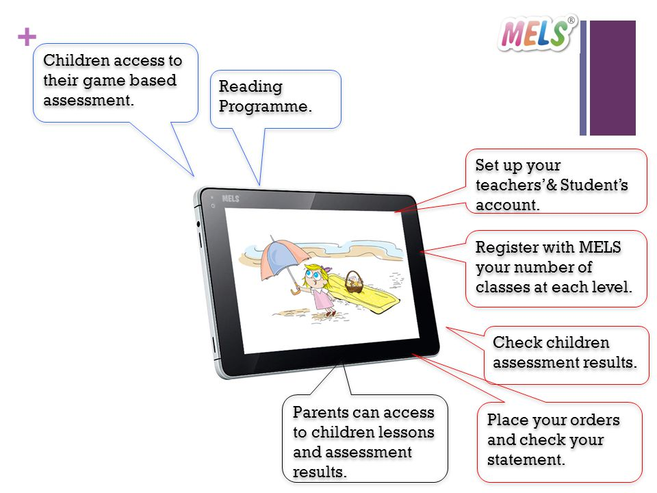 + Parents can access to children lessons and assessment results.