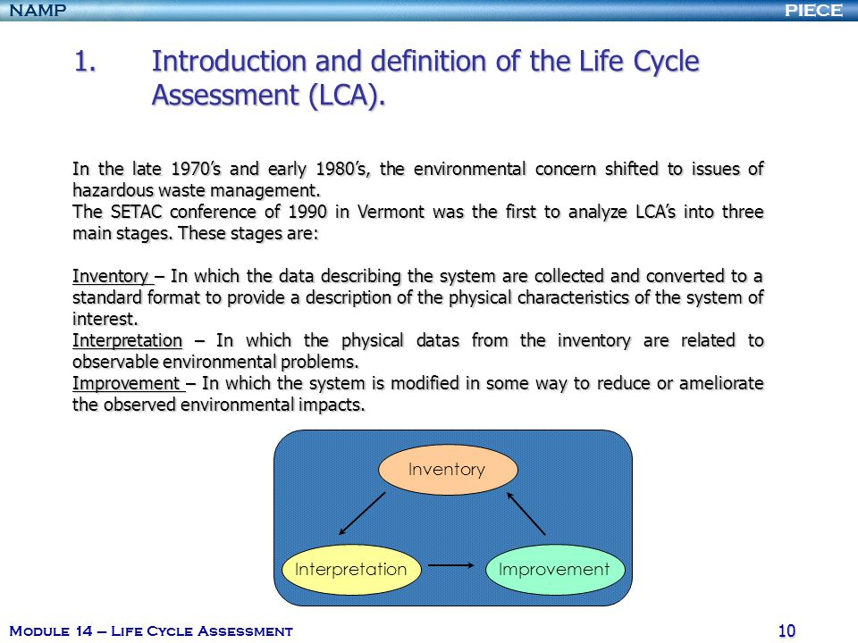 PIECENAMP Module 14 – Life Cycle Assessment 9 1.Introduction and definition of the Life Cycle Assessment (LCA). 1.1. The origin LCA has its roots in t