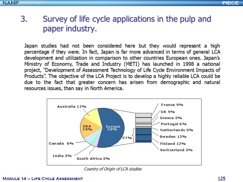 PIECENAMP Module 14 – Life Cycle Assessment 124 3.Survey of life cycle applications in the pulp and paper industry. It also possible to classify these