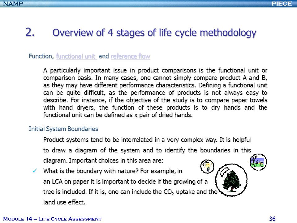 PIECENAMP Module 14 – Life Cycle Assessment 35 2. Overview of 4 stages of life cycle methodology The scope of any LCA study should be efficiently well