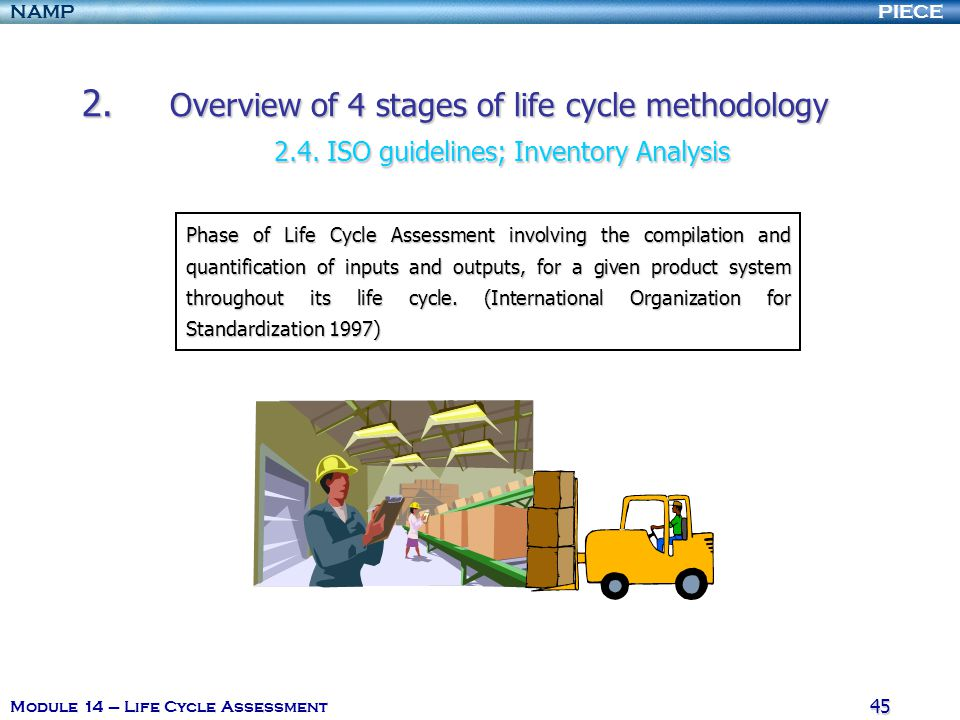 PIECENAMP Module 14 – Life Cycle Assessment 44 1.I ntroduction and definition of the Life Cycle Assessment (LCA). 2.O verview of 4 stages of life cycl