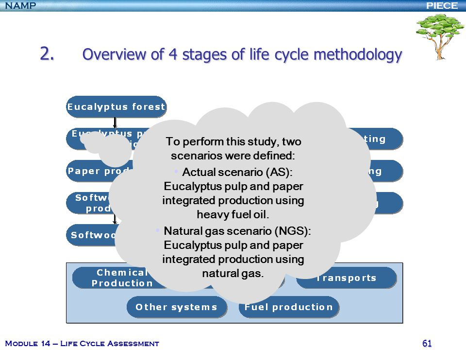 PIECENAMP Module 14 – Life Cycle Assessment 60 2. Overview of 4 stages of life cycle methodology Data on the production of softwood pulp include the p