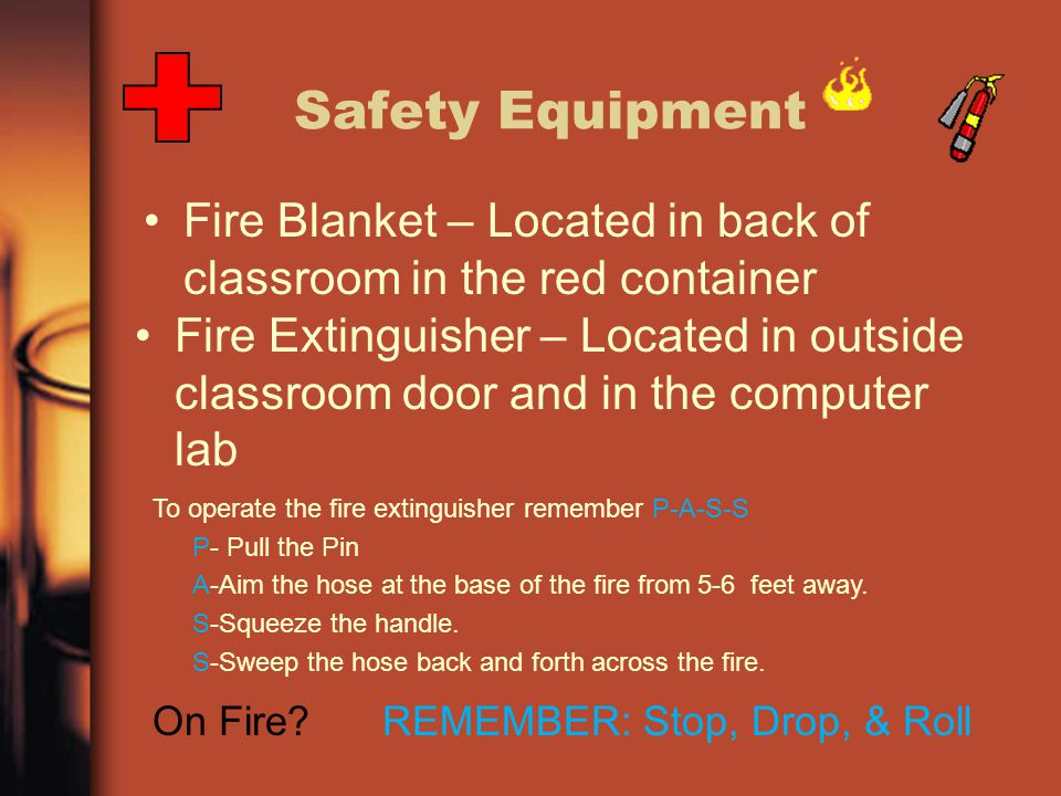 Safety Equipment Fire Blanket – Located in back of classroom in the red container Fire Extinguisher – Located in outside classroom door and in the com