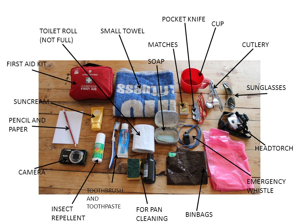 TOILET ROLL (NOT FULL) FIRST AID KIT SUNCREAM PENCIL AND PAPER CAMERA INSECT REPELLENT TOOTHBRUSH AND TOOTHPASTE FOR PAN CLEANING SMALL TOWEL SOAP BINBAGS MATCHES POCKET KNIFE CUP CUTLERY SUNGLASSES HEADTORCH EMERGENCY WHISTLE