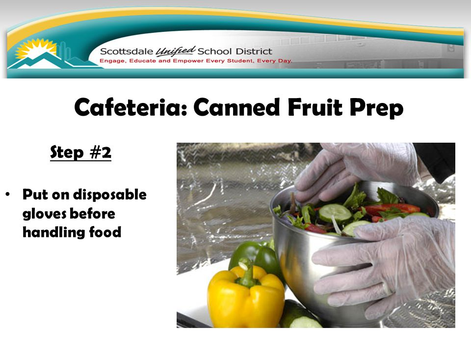 Step #2 Put on disposable gloves before handling food Cafeteria: Canned Fruit Prep