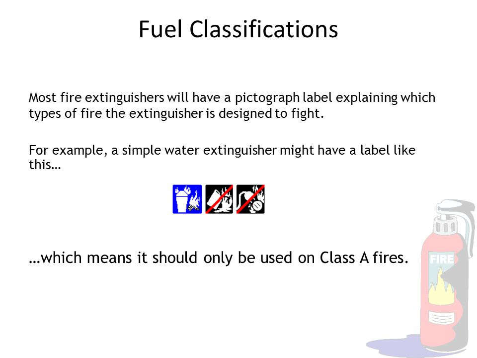 Fuel Classifications Most fire extinguishers will have a pictograph label explaining which types of fire the extinguisher is designed to fight. For ex