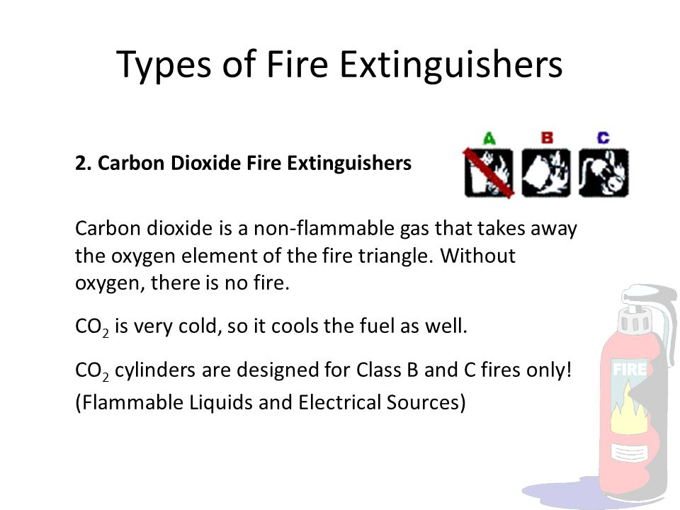 Types of Fire Extinguishers 2. Carbon Dioxide Fire Extinguishers Carbon dioxide is a non-flammable gas that takes away the oxygen element of the fire