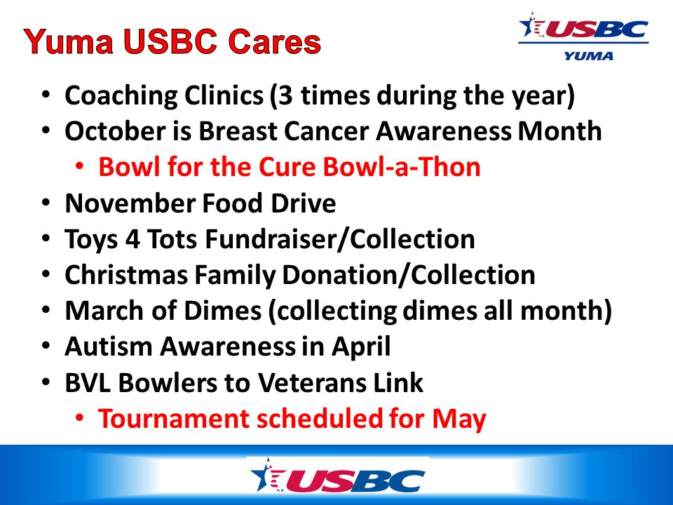 Coaching Clinics (3 times during the year) October is Breast Cancer Awareness Month Bowl for the Cure Bowl-a-Thon November Food Drive Toys 4 Tots Fundraiser/Collection Christmas Family Donation/Collection March of Dimes (collecting dimes all month) Autism Awareness in April BVL Bowlers to Veterans Link Tournament scheduled for May