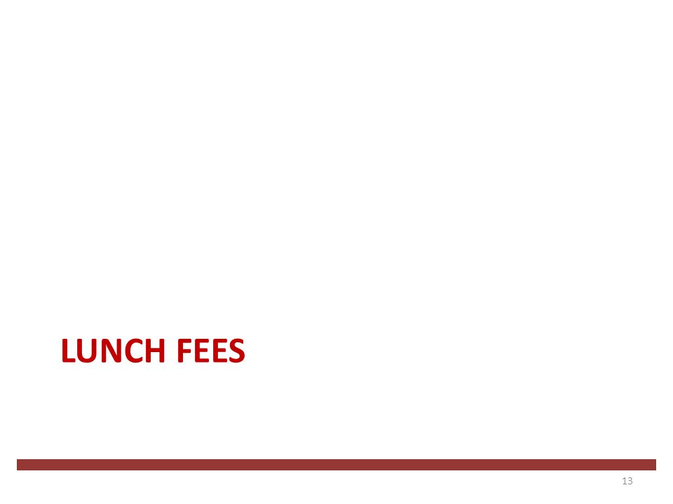 LUNCH FEES 13