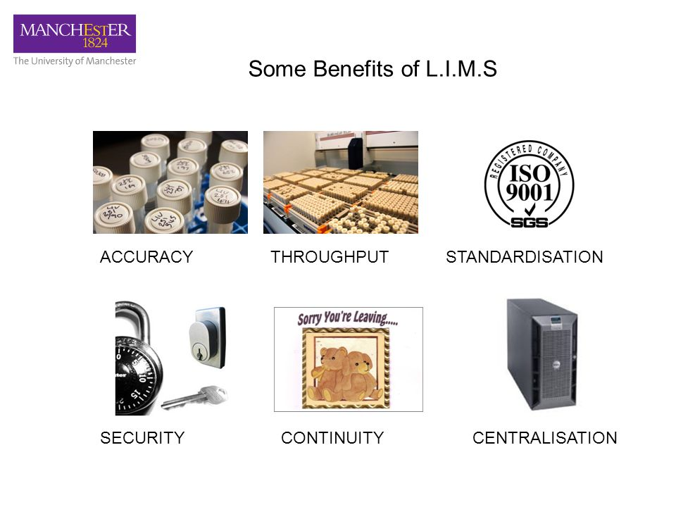 Some Benefits of L.I.M.S ACCURACYTHROUGHPUTSTANDARDISATION SECURITYCONTINUITYCENTRALISATION