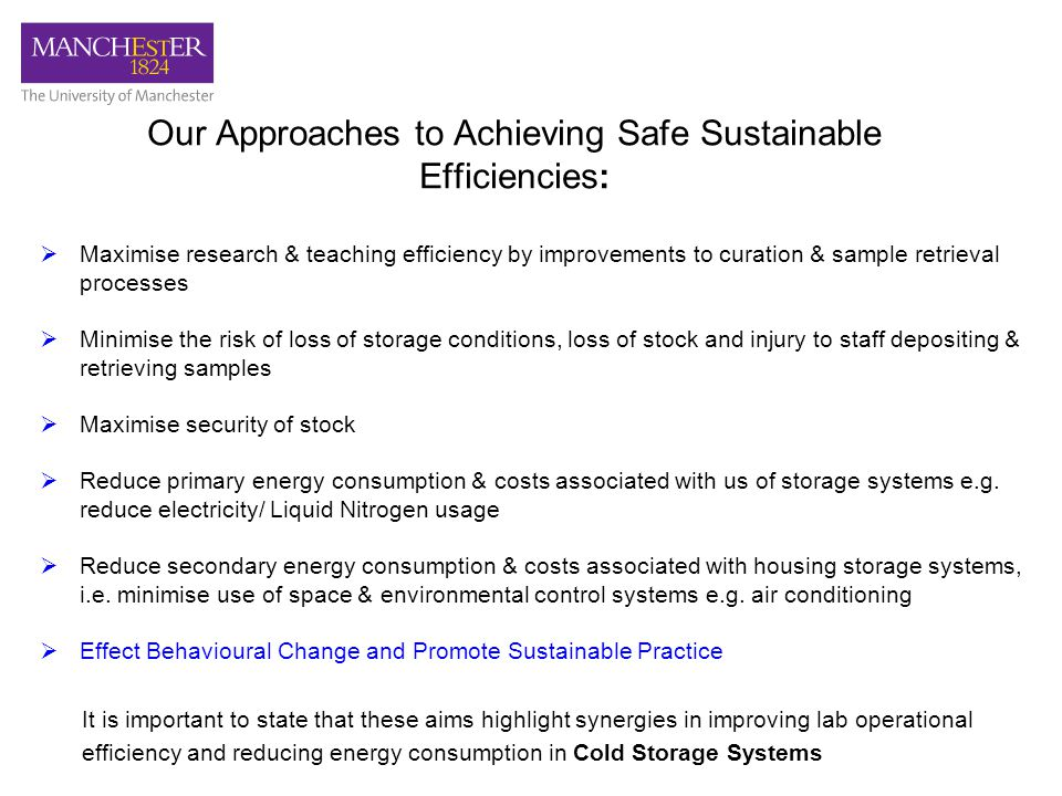 Our Approaches to Achieving Safe Sustainable Efficiencies:  Maximise research & teaching efficiency by improvements to curation & sample retrieval processes  Minimise the risk of loss of storage conditions, loss of stock and injury to staff depositing & retrieving samples  Maximise security of stock  Reduce primary energy consumption & costs associated with us of storage systems e.g.