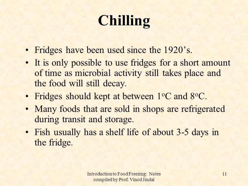 Introduction to Food Freezing: Notes compiled by Prof.