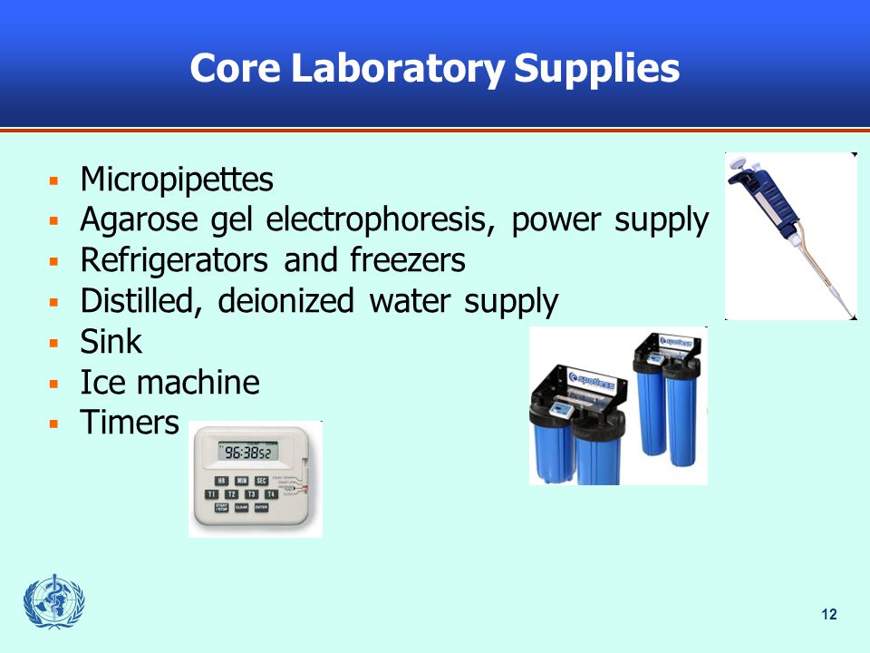 12 Core Laboratory Supplies  Micropipettes  Agarose gel electrophoresis, power supply  Refrigerators and freezers  Distilled, deionized water supply  Sink  Ice machine  Timers