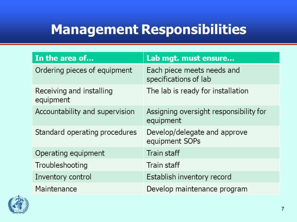 7 Management Responsibilities In the area of…Lab mgt.
