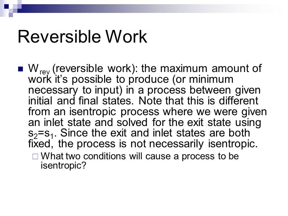 Irreversibilities Irreversibility, I: exergy destroyed; wasted work potential.