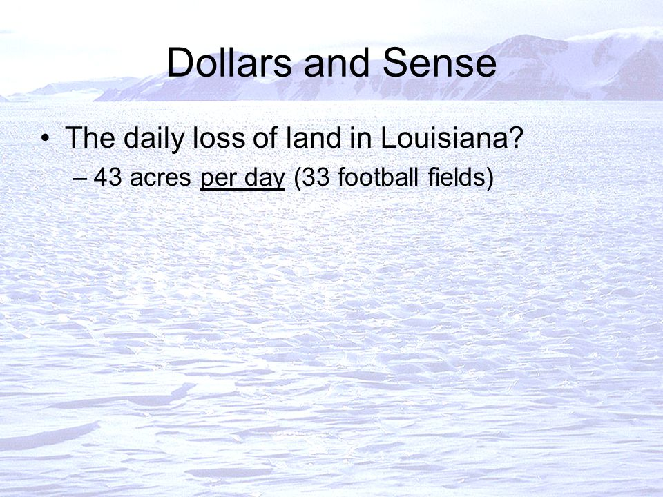 Dollars and Sense The daily loss of land in Louisiana –43 acres per day (33 football fields)