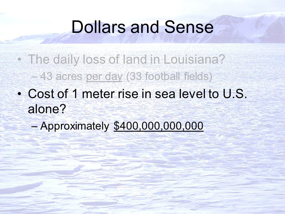 Dollars and Sense The daily loss of land in Louisiana.