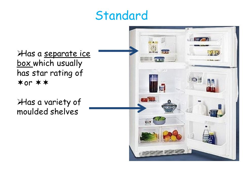 Standard  Has a separate ice box which usually has star rating of  or   Has a variety of moulded shelves