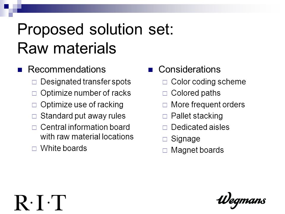 Proposed solution set: Raw materials Recommendations  Designated transfer spots  Optimize number of racks  Optimize use of racking  Standard put away rules  Central information board with raw material locations  White boards Considerations  Color coding scheme  Colored paths  More frequent orders  Pallet stacking  Dedicated aisles  Signage  Magnet boards