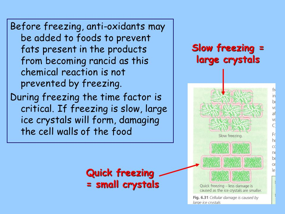 Quick Freezing Food quickly frozen from 0 > -18°C in approximately 12 minutes.