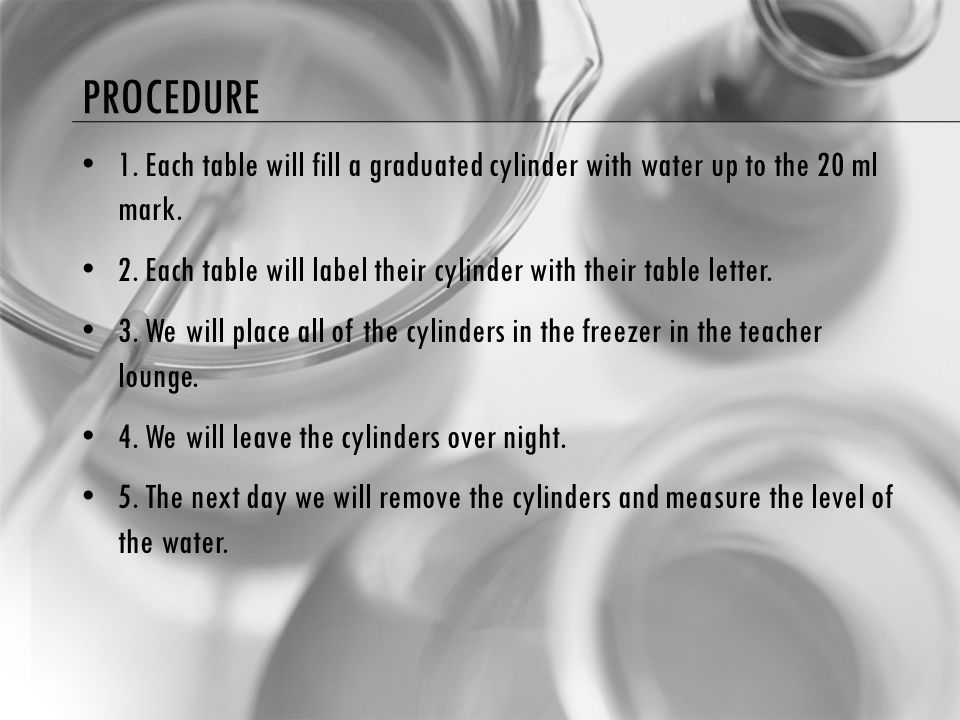 PROCEDURE 1. Each table will fill a graduated cylinder with water up to the 20 ml mark.