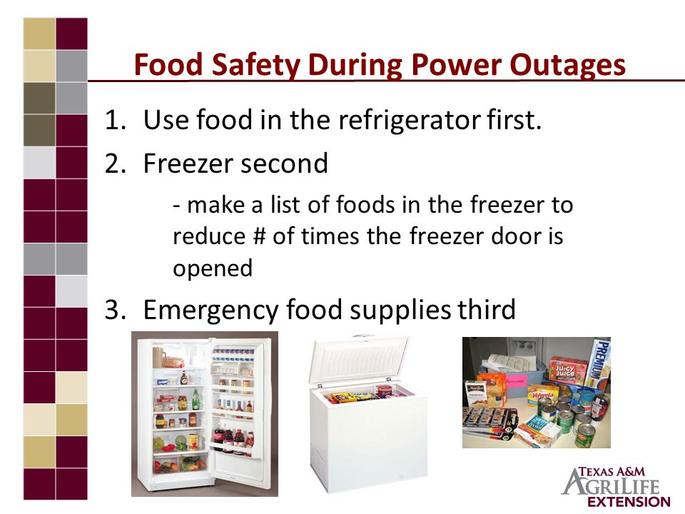 Food Safety During Power Outages 1.Use food in the refrigerator first.