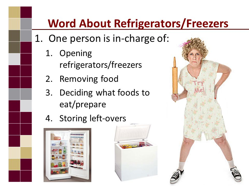 Word About Refrigerators/Freezers 1.One person is in-charge of: 1.Opening refrigerators/freezers 2.Removing food 3.Deciding what foods to eat/prepare 4.Storing left-overs Try Me!