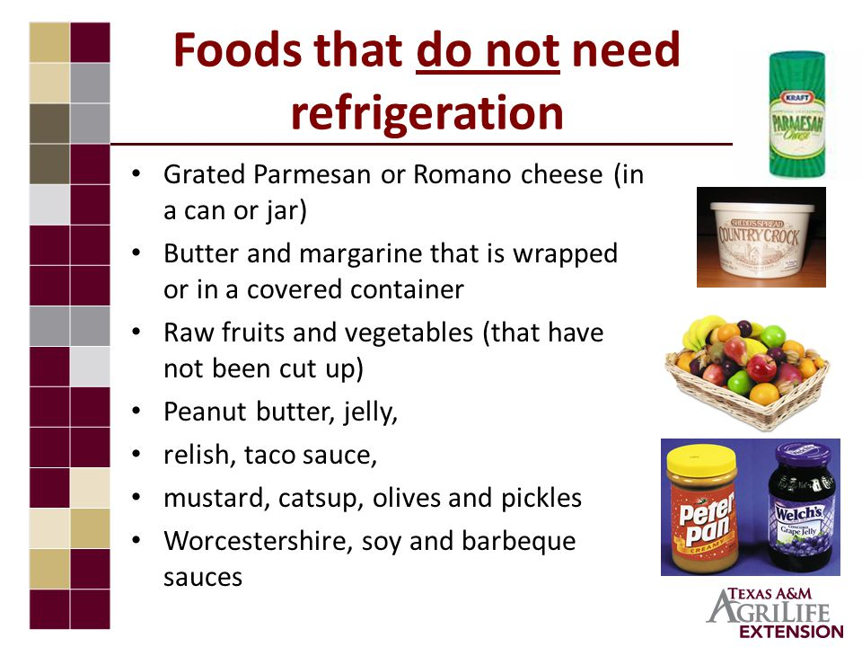 Foods that do not need refrigeration Grated Parmesan or Romano cheese (in a can or jar) Butter and margarine that is wrapped or in a covered container Raw fruits and vegetables (that have not been cut up) Peanut butter, jelly, relish, taco sauce, mustard, catsup, olives and pickles Worcestershire, soy and barbeque sauces