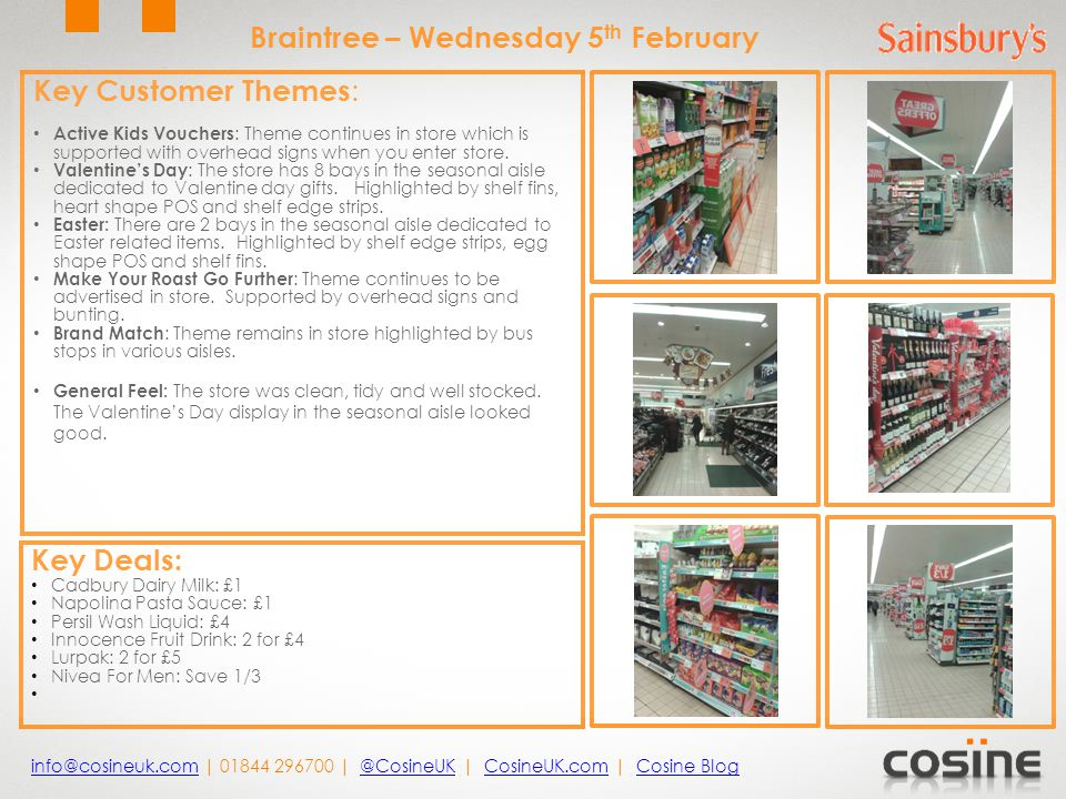 Key Customer Themes : Great Offers: signs remain throughout the store to advertise offers.