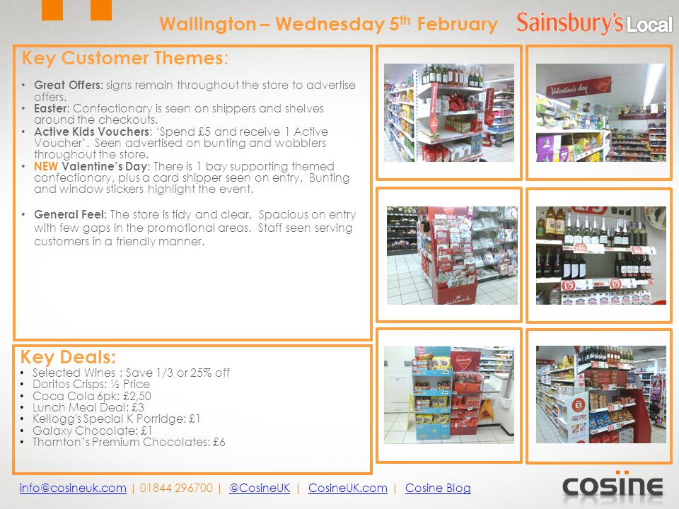 Key Customer Themes : ASDA Price Guarantee: Theme remains in store, supported by new overhead signs at till points.