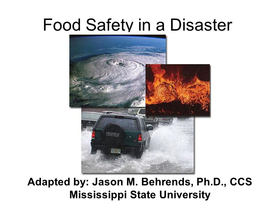 Food Safety in a Disaster Adapted by: Jason M. Behrends, Ph.D., CCS Mississippi State University