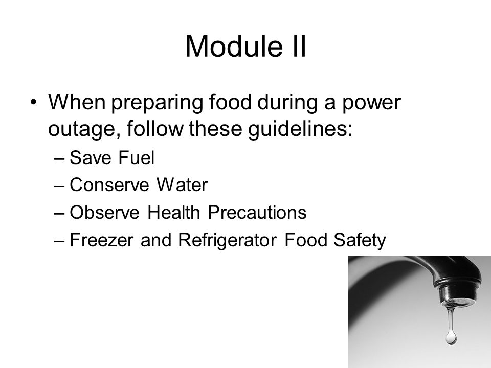 Module II When preparing food during a power outage, follow these guidelines: –Save Fuel –Conserve Water –Observe Health Precautions –Freezer and Refrigerator Food Safety