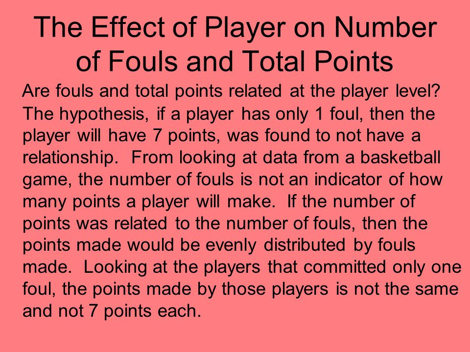 The Effect of Player on Number of Fouls and Total Points Are fouls and total points related at the player level.