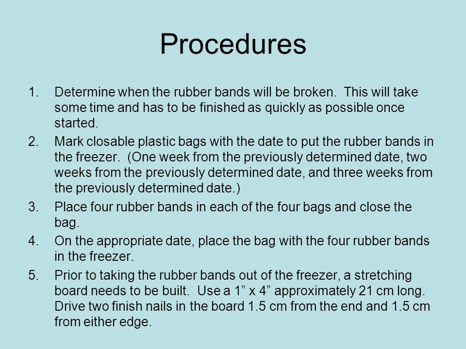Procedures 1.Determine when the rubber bands will be broken.