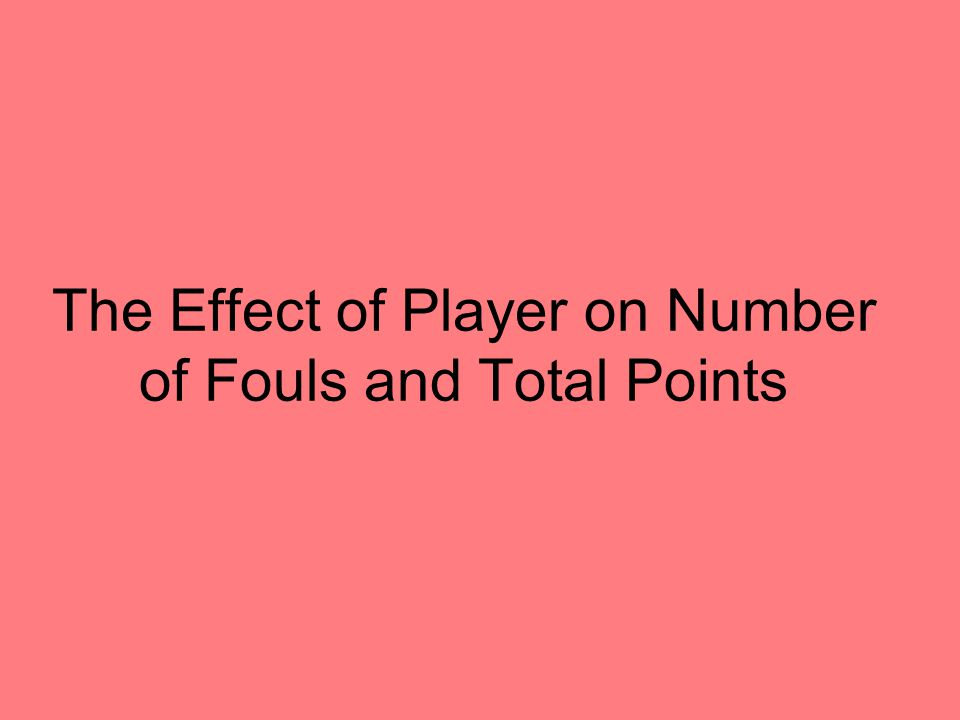 The Effect of Player on Number of Fouls and Total Points