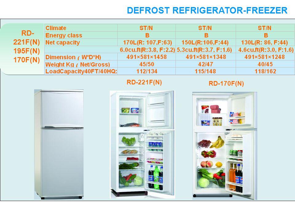 DEFROST REFRIGERATOR-FREEZER DOUBLE DOORS RD- 221F(N) 195F(N) 170F(N) RD-221F(N) RD-170F(N)
