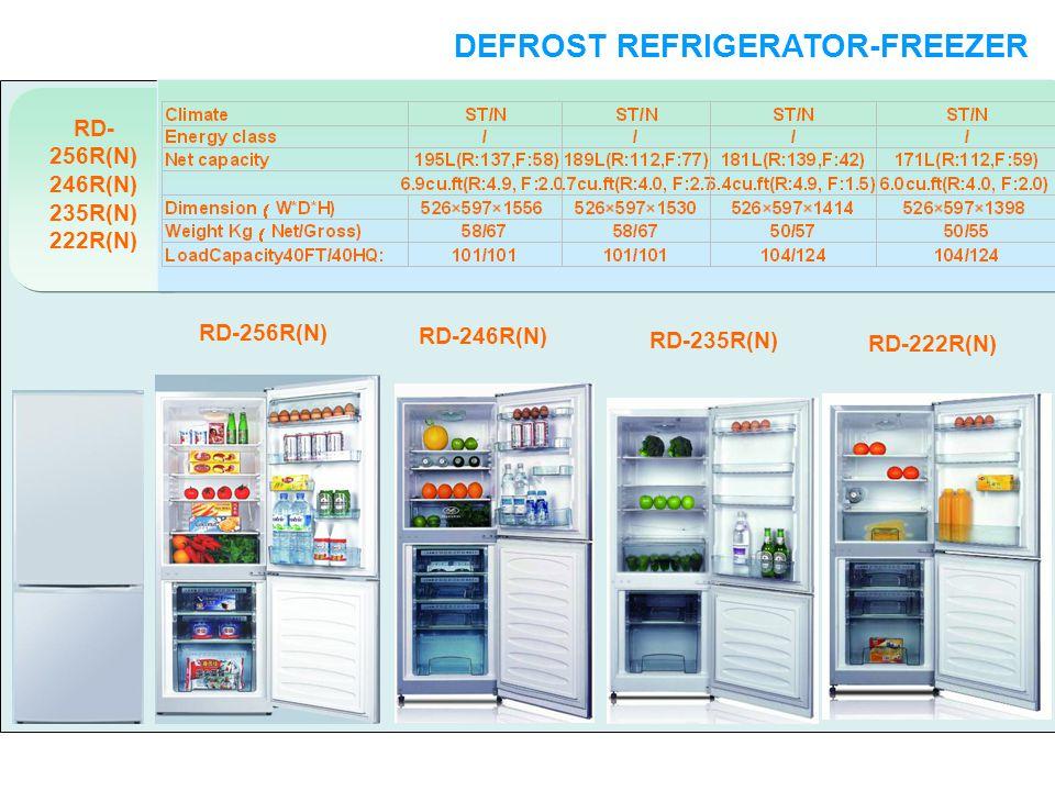 RD- 256R(N) 246R(N) 235R(N) 222R(N) DEFROST REFRIGERATOR-FREEZER DOUBLE DOORS RD-256R(N) RD-246R(N) RD-235R(N) RD-222R(N)