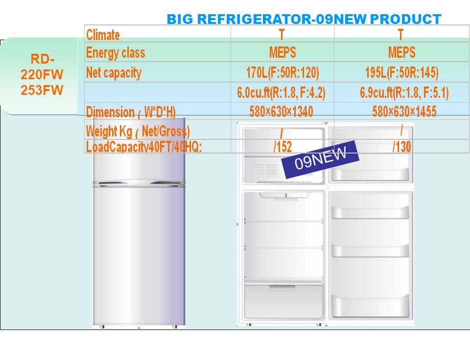 RD- 220FW 253FW 09NEW BIG REFRIGERATOR-09NEW PRODUCT DOUBLE DOORS