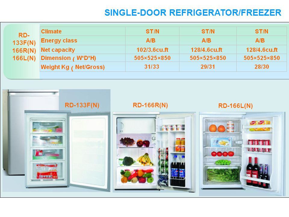 RD- 133F(N) 166R(N) 166L(N) SINGLE-DOOR REFRIGERATOR/FREEZER SINGLE-DOOR RD-133F(N)RD-166R(N) RD-166L(N)