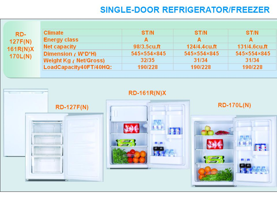 RD- 127F(N) 161R(N)X 170L(N) SINGLE-DOOR REFRIGERATOR/FREEZER SINGLE-DOOR RD-127F(N) RD-161R(N)X RD-170L(N)