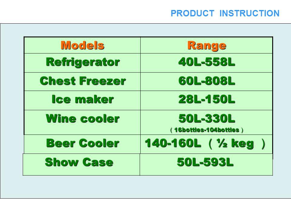 ModelsRange Refrigerator40L-558L Chest Freezer 60L-808L Ice maker 28L-150L Wine cooler 50L-330L ( 16bottles-104bottles ) Beer Cooler 140-160L ( ½ keg