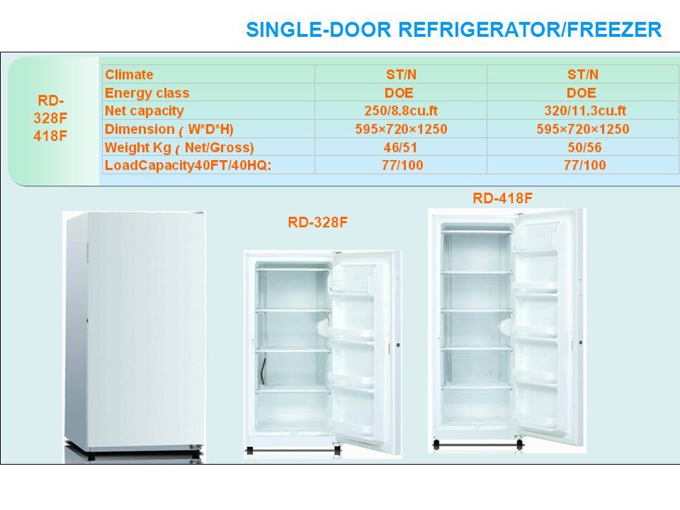 RD- 328F 418F SINGLE-DOOR REFRIGERATOR/FREEZER SINGLE-DOOR RD-328F RD-418F