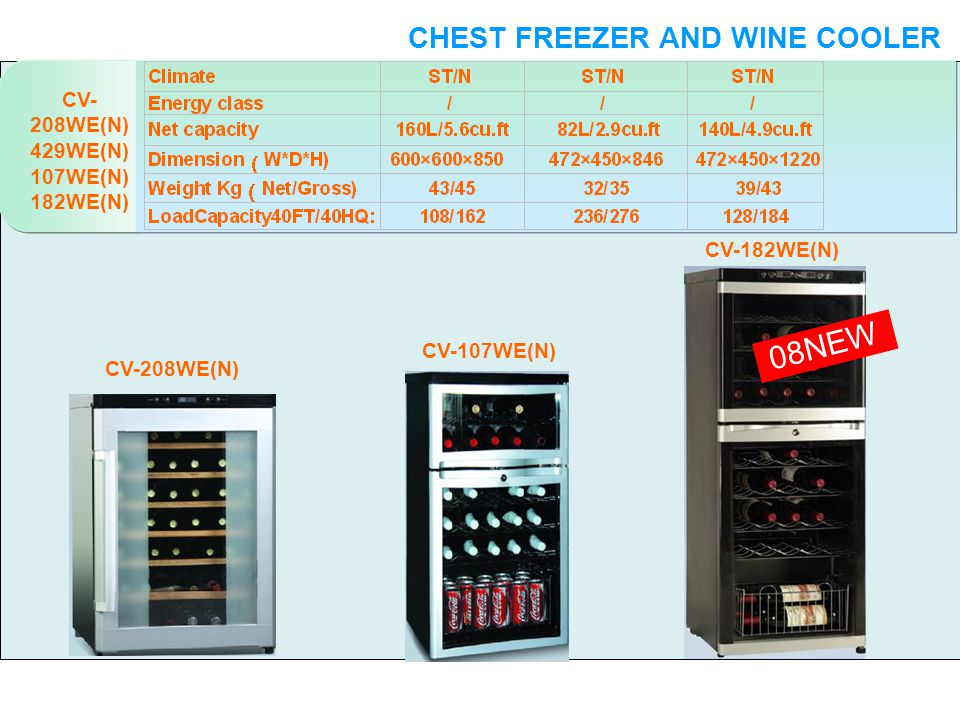 CV- 208WE(N) 429WE(N) 107WE(N) 182WE(N) 08NEW WINE COOLER CHEST FREEZER AND WINE COOLER CV-208WE(N) CV-107WE(N) CV-182WE(N)