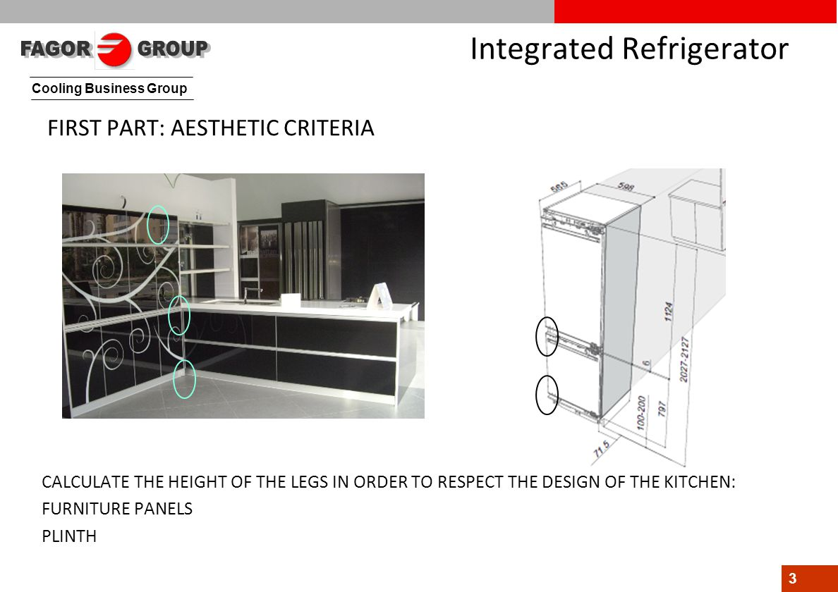 Cooling Business Group 3 Integrated Refrigerator FIRST PART: AESTHETIC CRITERIA CALCULATE THE HEIGHT OF THE LEGS IN ORDER TO RESPECT THE DESIGN OF THE