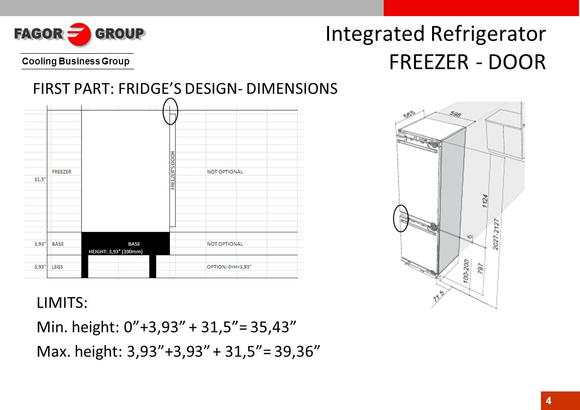 "Cooling Business Group 4 Integrated Refrigerator FREEZER - DOOR FIRST PART: FRIDGE'S DESIGN- DIMENSIONS LIMITS: Min. height: 0""+3,93"" + 31,5""= 35,43"""