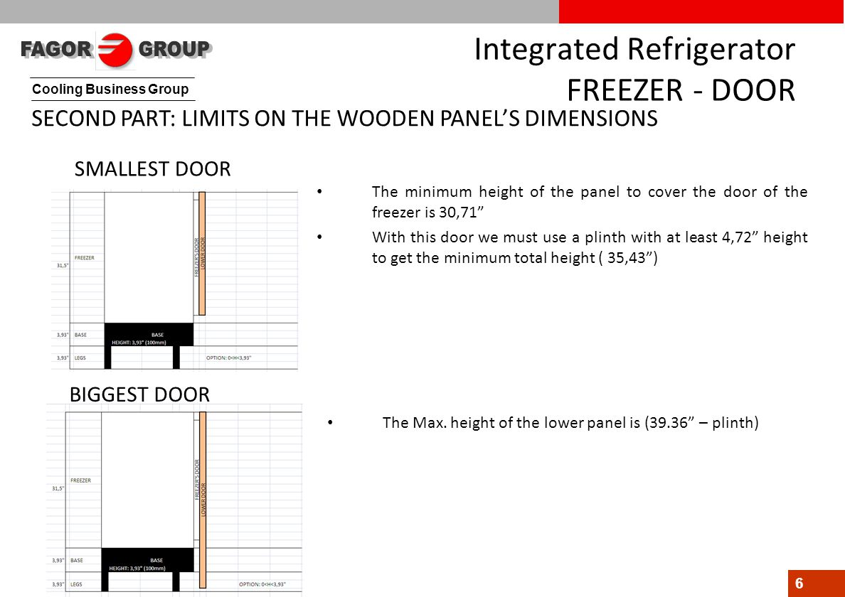Cooling Business Group 6 Integrated Refrigerator FREEZER - DOOR SMALLEST DOOR BIGGEST DOOR The minimum height of the panel to cover the door of the freezer is 30,71 With this door we must use a plinth with at least 4,72 height to get the minimum total height ( 35,43 ) The Max.